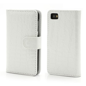 Crocodile Textured Folio Card Wallet Leather Case for BlackBerry Z10 BB 10 - White