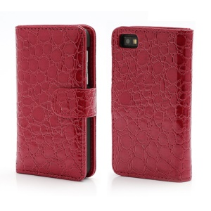 Crocodile Textured Folio Card Wallet Leather Case for BlackBerry Z10 BB 10 - Red