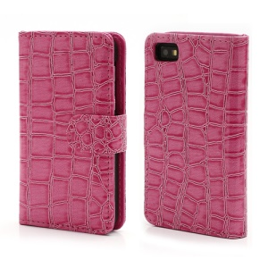 Crocodile Textured Folio Card Wallet Leather Case for BlackBerry Z10 BB 10 - Rose