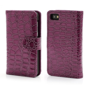Crocodile Textured Folio Card Wallet Leather Case for BlackBerry Z10 BB 10 - Purple