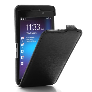 Litchi Texture Slim Vertical Leather Flip Case Cover for BlackBerry Z10 BB 10 - Black