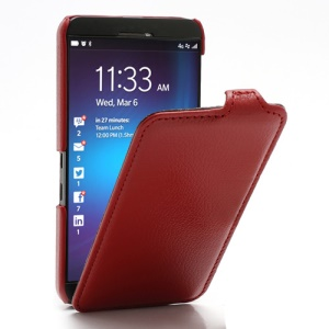 Litchi Texture Slim Vertical Leather Flip Case Cover for BlackBerry Z10 BB 10 - Red