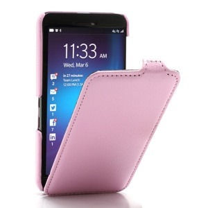 Litchi Texture Slim Vertical Leather Flip Case Cover for BlackBerry Z10 BB 10 - Pink
