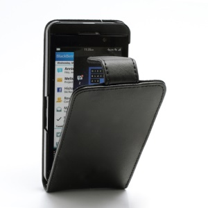 Doormoon Genuine Leather Vertical Flip Case Cover for BlackBerry Z10 BB 10 - Black