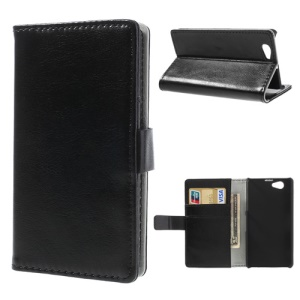 Black Crazy Horse Credit Card Wallet Leather Case Stand for Sony Xperia Z1 Mini Compact D5503