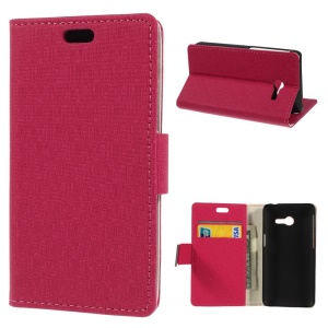 Maze Pattern Cloth Texture Leather Wallet Case w/ Stand for Asus Zenfone 4 - Rose
