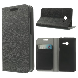 Tree Bark Textured Leather Flip Stand Case for Asus Zenfone 4 - Black