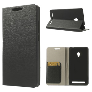 Tree Bark Texture Leather Flip Case w/ Card Slots & Stand for Asus Zenfone 6 - Black