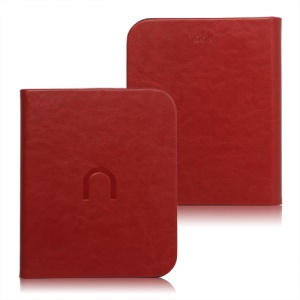 High Quality Leather Case Cover for Barnes Noble Nook 2 2nd Simple Touch - Red