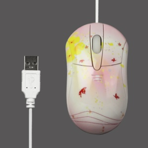 Small Butterflies USB Optical Mouse 800DPI for PC Laptop - Red/White