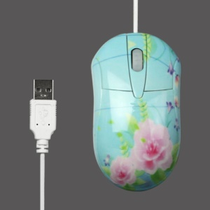 Blooming Flowers USB Optical Mouse Mice 800DPI for PC Laptop - Blue