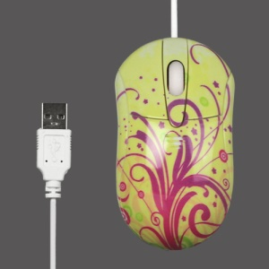 800DPI Flower Vine USB Optical Mouse for PC Laptop - Yellow