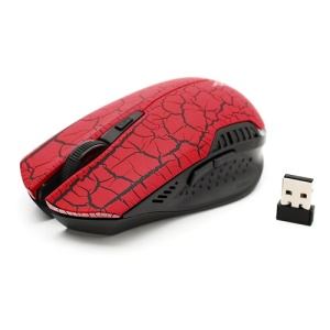2.4GHz 1600 / 1000 DPI Wireless Optical Mouse + USB 2.0 Receiver for PC Laptop - Red