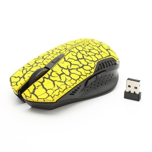 2.4GHz 1600 / 1000 DPI Wireless Optical Mouse + USB 2.0 Receiver for PC Laptop - Yellow