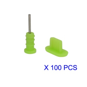 100 Pairs/Lot Anti-dust Earphone Plug and Dock Stopper for iPhone 5 - Green