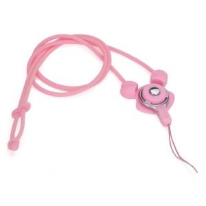 Elastic Silicone Rabbit Neck Lanyard Strap String for Cell Phone Digital Camera MP3 Pen USB Drive - Pink