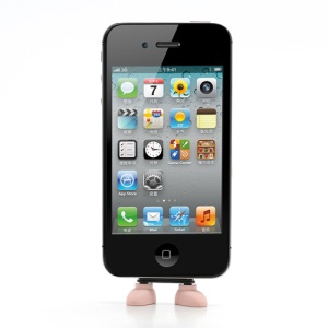 Lovely Shoes Silicone PC Anti Dust Charger Port Plug + Stand Function  for iPhone 4 4S - Pink