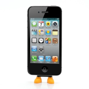 Lovely Shoes Silicone PC Anti Dust Charger Port Plug + Stand Function  for iPhone 4 4S - Orange