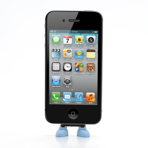 Lovely Shoes Silicone PC Anti Dust Charger Port Plug + Stand Function  for iPhone 4 4S - Blue