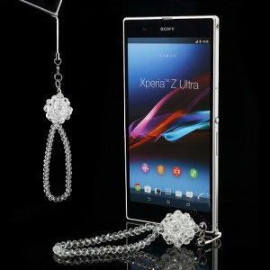 Bling Crystal Wristlet Lanyard Cell Phone Strap - White
