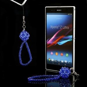 Bling Crystal Lanyard Wristlet Strap - Dark Blue