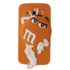 Orange Female M&Ms Chocolate Bean Silicone Cover for Samsung Galaxy Grand 2 Duos G7100 G7102