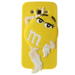 Yellow Female M&Ms Chocolate Bean Silicone Cover for Samsung Galaxy Grand 2 Duos G7105 G7106
