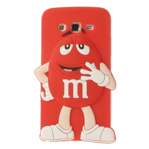 Red Cute Happy M&Ms Bean Candy Silicone Case for Samsung Galaxy Grand 2 Duos G7102 G7105 G7100