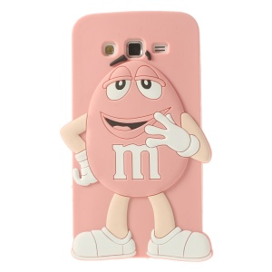 Pink Cute Happy M&Ms Bean Candy Silicone Case for Samsung Galaxy Grand 2 Duos G7106 G7105