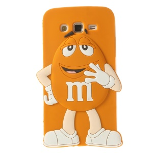 Orange Cute Happy M&Ms Bean Candy Silicone Cover for Samsung Galaxy Grand 2 Duos G7100