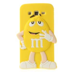 Yellow Cute Happy M&Ms Rainbow Bean Silicone Shell for Samsung Galaxy Grand 2 Duos G7100