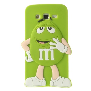 Green Cute Happy M&Ms Rainbow Bean Silicone Shell for Samsung Galaxy Grand 2 Duos G710S