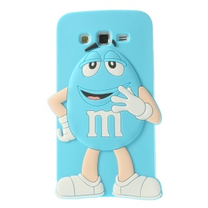 Blue Cute Happy M&Ms Rainbow Bean Silicone Case for Samsung Galaxy Grand 2 Duos G710S G7100