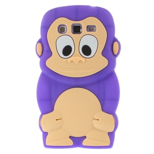 Purple Cute 3D Monkey Silicone Case Cover for Samsung Galaxy Grand 2 Duos G710S G7100