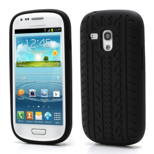 Anti-slip Tyre Tread Soft Silicone Gel Case for Samsung Galaxy S III / 3 Mini I8190 - Black