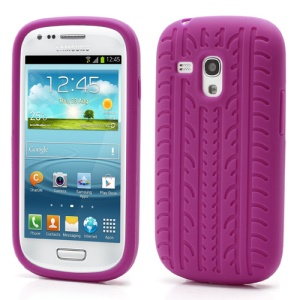 Anti-slip Tyre Tread Soft Silicone Gel Case for Samsung Galaxy S III / 3 Mini I8190 - Rose