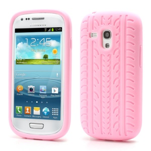 Anti-slip Tyre Tread Soft Silicone Gel Case for Samsung Galaxy S III / 3 Mini I8190 - Pink