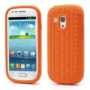 Anti-slip Tyre Tread Soft Silicone Gel Case for Samsung Galaxy S III / 3 Mini I8190 - Orange