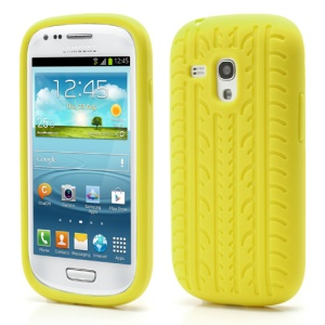 Anti-slip Tyre Tread Soft Silicone Gel Case for Samsung Galaxy S III / 3 Mini I8190 - Yellow