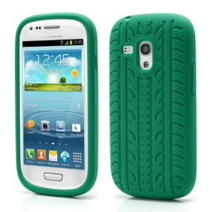 Anti-slip Tyre Tread Soft Silicone Gel Case for Samsung Galaxy S III / 3 Mini I8190 - Green
