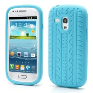 Anti-slip Tyre Tread Soft Silicone Gel Case for Samsung Galaxy S III / 3 Mini I8190 - Light Blue