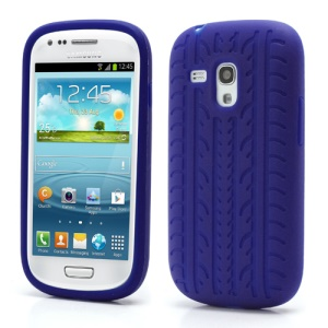 Anti-slip Tyre Tread Soft Silicone Gel Case for Samsung Galaxy S III / 3 Mini I8190 - Dark Blue