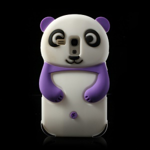 Purple Adorable 3D Panda Silicone Cover for Samsung i8190 Galaxy S3 Mini