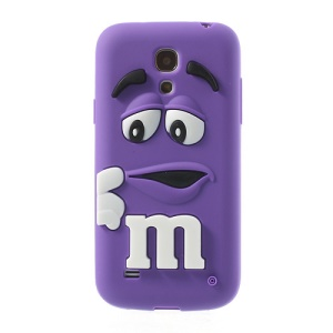 Purple PIZU M&M Bean Candy Smell Silicone Cover for Samsung Galaxy S IV mini I9195 I9192
