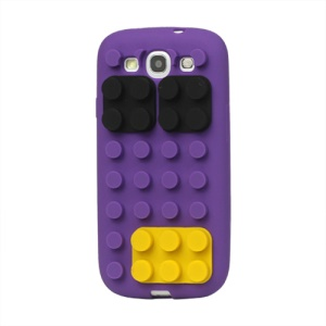 Building Block Silicone Case Cover for Samsung Galaxy S 3 / III I9300 I747 L710 T999 I535 R530 - Purple