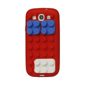 Building Block Silicone Case Cover for Samsung Galaxy S 3 / III I9300 I747 L710 T999 I535 R530 - Red