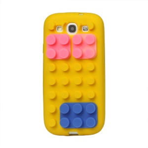 Building Block Silicone Case Cover for Samsung Galaxy S 3 / III I9300 I747 L710 T999 I535 R530 - Yellow