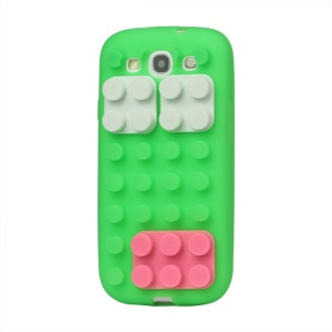 Building Block Silicone Case Cover for Samsung Galaxy S 3 / III I9300 I747 L710 T999 I535 R530 - Green