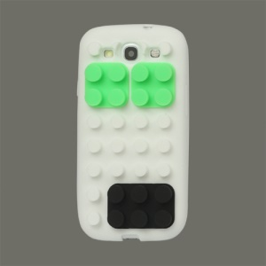 Building Block Silicone Case Cover for Samsung Galaxy S 3 / III I9300 I747 L710 T999 I535 R530 - White