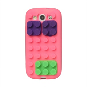 Building Block Silicone Case Cover for Samsung Galaxy S 3 / III I9300 I747 L710 T999 I535 R530 - Pink